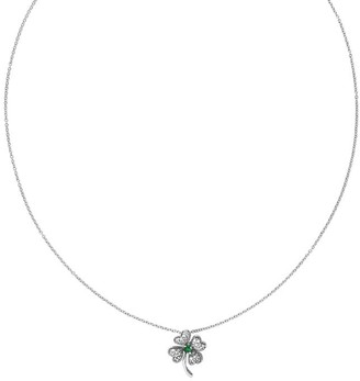 "Sterling Crystal Four-Leaf Clover Pendant w/18""Necklace"