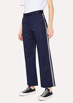 Paul Smith Women's Navy Stripe Detail Cotton-Blend Trousers