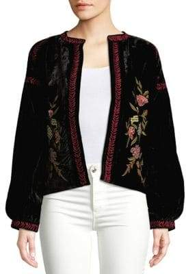 Raga Embroidered Open-Front Jacket