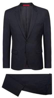 HUGO Boss Extra-slim-fit suit in structured virgin wool 40R Dark Blue