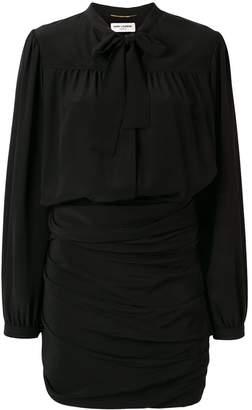 Saint Laurent ruched pussy bow shirt dress