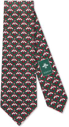 Gucci Bees pattern silk cotton tie