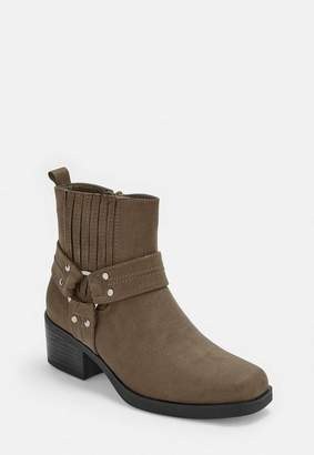 Missguided Khaki Faux Suede Square Toe Heeled Ankle Boots