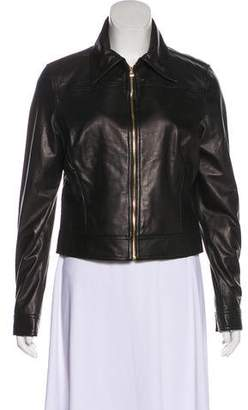 L'Agence Leather Zip Jacket