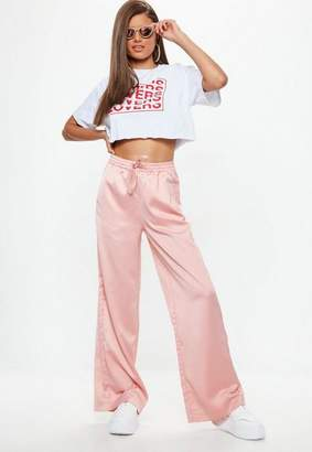 Missguided Pink Satin Wide Leg Tie Waist Pants