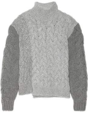 Stella McCartney Mélange Cable-Knit Wool-Blend Turtleneck Sweater