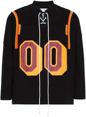 Facetasm Black cotton number print sweatshirt