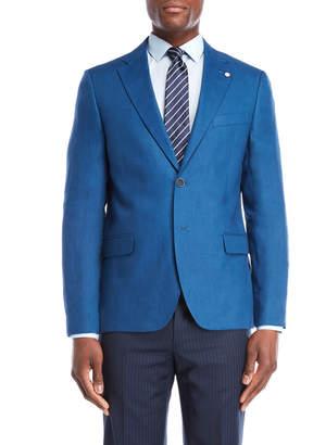 Nautica Medium Blue Briella Linen Suit Jacket
