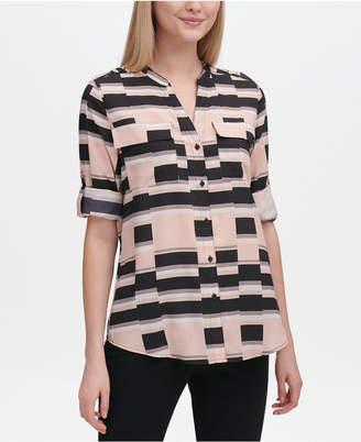 Calvin Klein Geo-Print Roll-Tab Button-Up Top