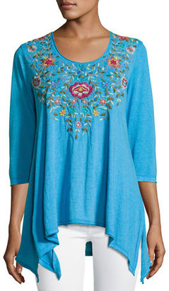 JWLA For Johnny Was Tuscany 3/4-Sleeve Trapeze Tee, Plus Size $150 thestylecure.com