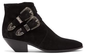 6b0f58b02b6 Saint Laurent West Buckled Suede Boots - Womens - Black