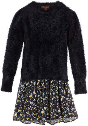 Imoga Fancy Yarn Sweater & Floral Chiffon Dress Set, Size 8-14