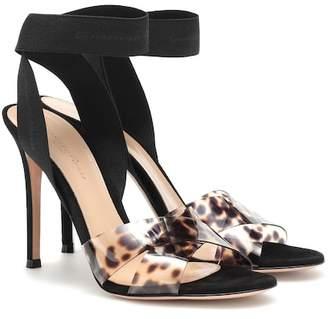 Gianvito Rossi Plexi leopard sandals