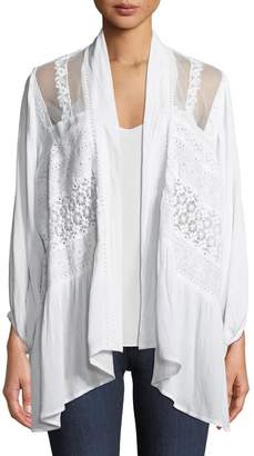 Neiman Marcus Embroidered Draped Cardigan