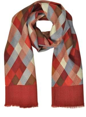 Laura Biagiotti Diamond Printed Wool, Silk and Cashmere Long Scarf