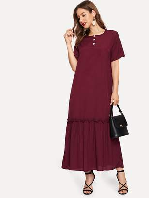Shein Button Half Placket Ruffle Hem Dress
