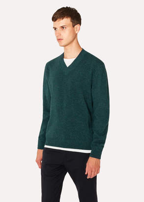 Paul Smith Men's Teal V-Neck Lambswool Sweater