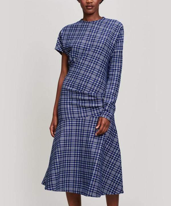 Long-Sleeve Asymmetric Plaid Midi Dress