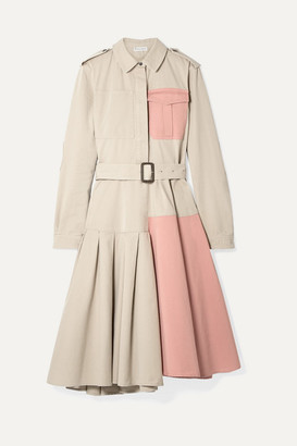J.W.Anderson Belted Paneled Cotton-drill Dress - Beige