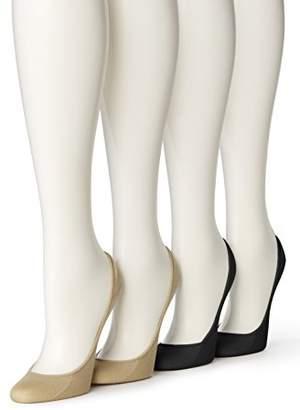 Hue Women's Microfiber No Show Liner Socks, 4 Pair Pack