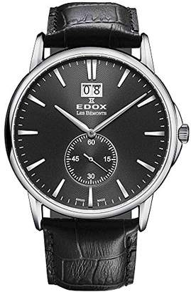 Edox Men's 64012 3 NIN Les Bemonts Stainless Steel Watch With Leather Band