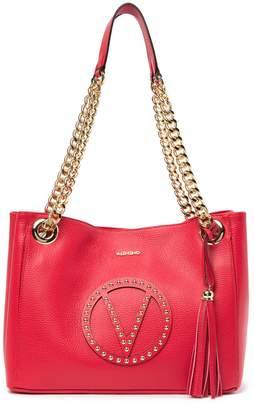 Mario Valentino Valentino By Luisa Leather Studded Brand Logo Tote Bag