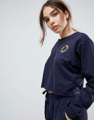 Asos DESIGN LOUNGE Embroidered 'Do Nothing Club' Front Seam Sweat