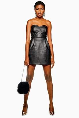 Topshop PETITE PU Bandeau Mini Dress