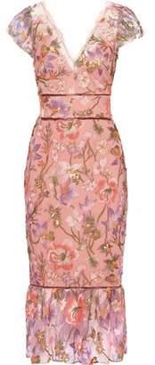 Marchesa Metallic Embellished Tulle Midi Dress