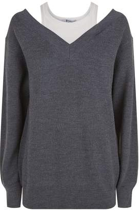 Alexander Wang Layered Off-The-Shoulder Sweater