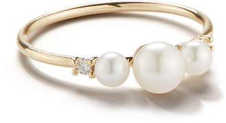 Mizuki 14k Gold 3-Pearl & Diamond Ring, Size 7