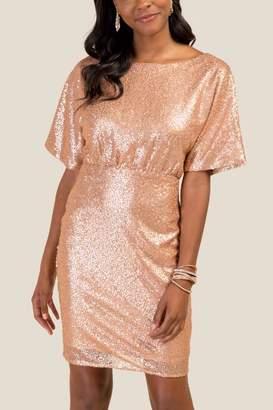 francesca's Tatiana Sequin Sheath Dress - Gold
