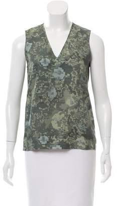 J Brand Camo Print Silk Top
