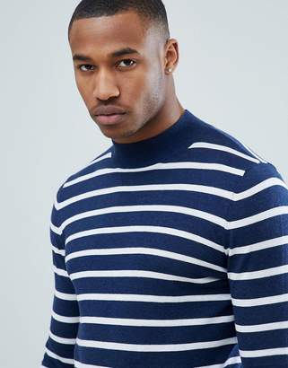 Asos DESIGN Knitted Striped Turtleneck Sweater In Navy