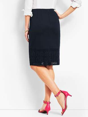 Talbots Refined Ponte Lace-Hem Pencil Skirt