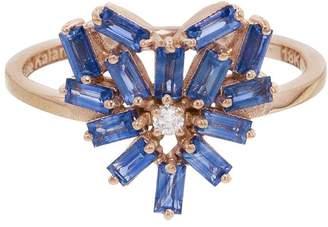 Suzanne Kalan Blue Sapphire Firework Heart Ring - Rose Gold