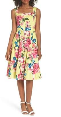 Eliza J Square Neck Floral Tiered Fit & Flare Midi Dress