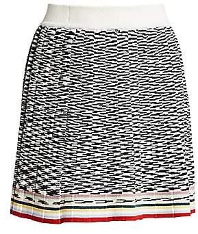 Missoni Women's Lurex Knit Pleated Wool Mini Skirt