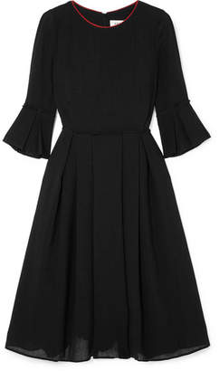 Cefinn - Grosgrain-trimmed Voile Midi Dress - Black