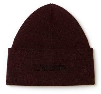 Lacoste Men's Embroidery Turned Edge Ribbed Wool Beanie