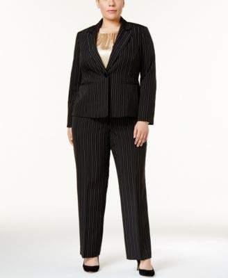 Le Suit Women's Plus Size Pinstripe 1 Button Pant Cami