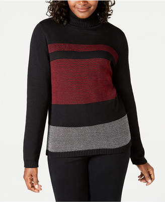 Karen Scott Cotton Printed Turtleneck Sweater