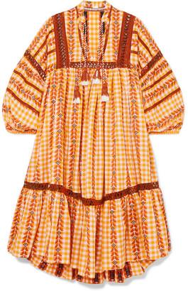 Dodo Bar Or Tasseled Crochet-trimmed Gingham Cotton-jacquard Dress - Mustard