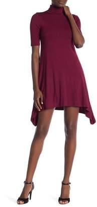 Velvet Torch Short Sleeve Mock Neck Skater Dress