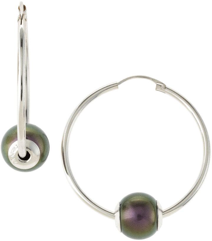 Majorica Single Pearl Hoop Earrings