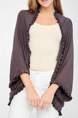 Llove Usa Ruffled Kimono Cardigan