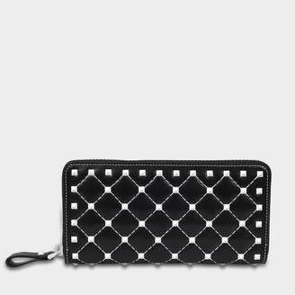 Valentino Free Rockstud Spike Zip Around Continental Wallet in Black Nappa with White Studs in Nylon