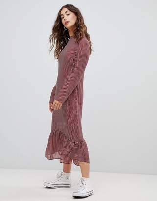 Glamorous high neck midi dress in spot