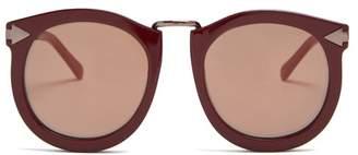 Karen Walker Super Lunar Round Eye Acetate Sunglasses - Womens - Burgundy