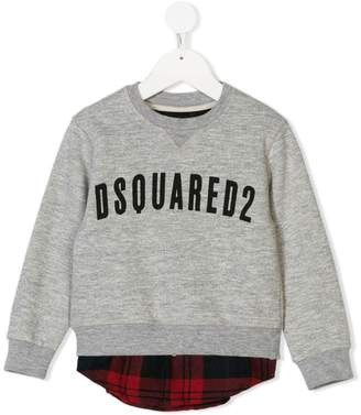DSQUARED2 logo print layered sweatshirt
